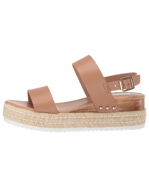81bcefdb45b ... Lyst Steve Madden - Multicolor Catia Wedge Sandal (black Leather)  Women s Wedge Shoes ...
