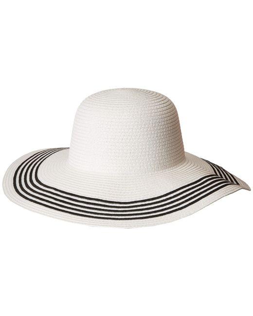 San Diego Hat Company - Pbl3088os Paperbraid Floppy W/ Contrast Stripes On Brim (black/white) Caps - Lyst