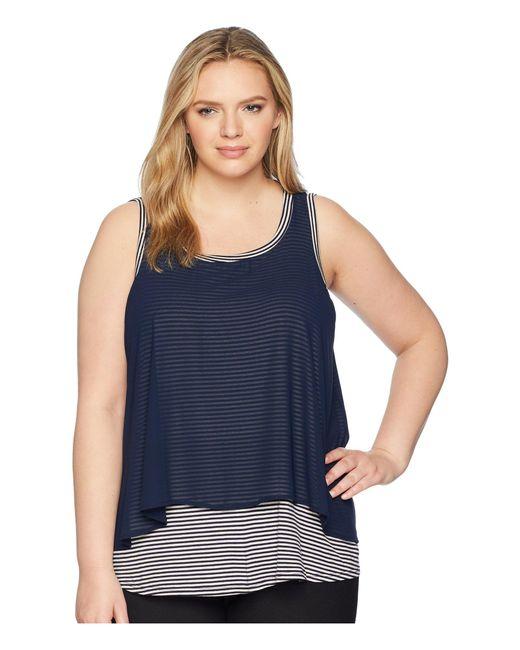 B Collection By Bobeau - Blue Plus Size Sydney Stripe Tank Top (navy Stripe) Women's Sleeveless - Lyst