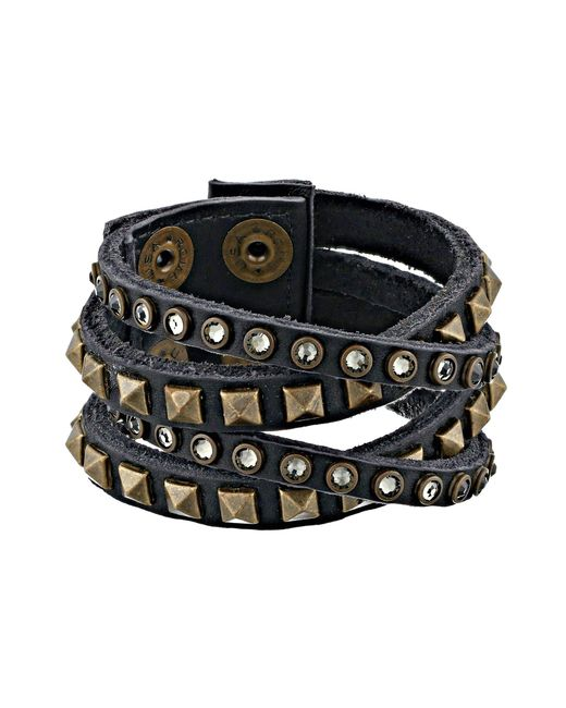 Leatherock - Black B340 (cracked White) Bracelet - Lyst