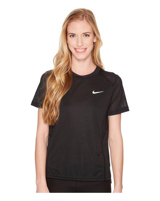 Nike - Black Dry Miler Short-sleeve Running Top (gunsmoke/heather) Women's Short Sleeve Pullover - Lyst