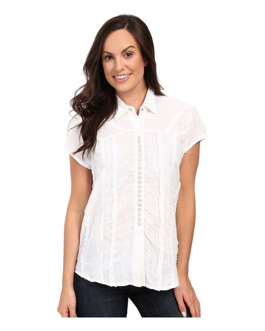 Scully | White Honey Creek Lace Cap Sleeve Top W/ Flirty Snap Front | Lyst