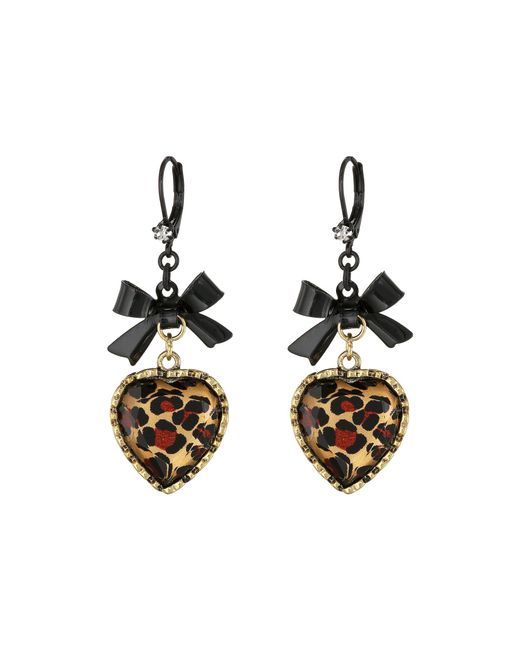 Betsey Johnson - Multicolor Euro Leopard Heart Black Bow - Lyst