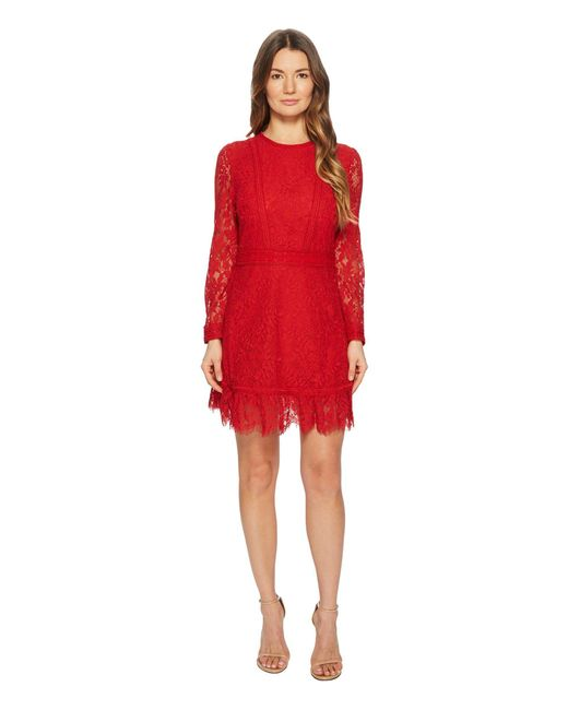 The Kooples - Red Lace Dress With Lace Stripe - Lyst