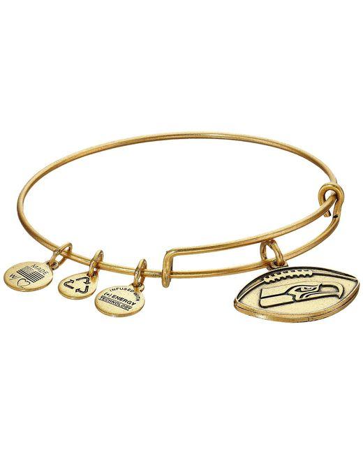 ALEX AND ANI - Metallic Nfl Seattle Seahawks Football Bangle (rafaelian Silver) Charms Bracelet - Lyst