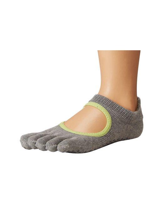 ToeSox - Gray Grip Full Toe Bellarina (heather Grey With Lime-aid Trim) Women's Low Cut Socks Shoes - Lyst