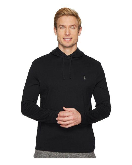Polo Ralph Lauren - Black Hooded Jersey T-shirt (league Heather) Men's T Shirt for Men - Lyst