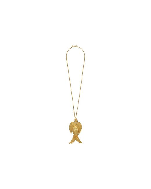 Kenneth Jay Lane - Metallic 32 Satin Gold With Crystal Face Large Bird Pendant S Hook Necklace (satin Gold/crystal) Necklace - Lyst