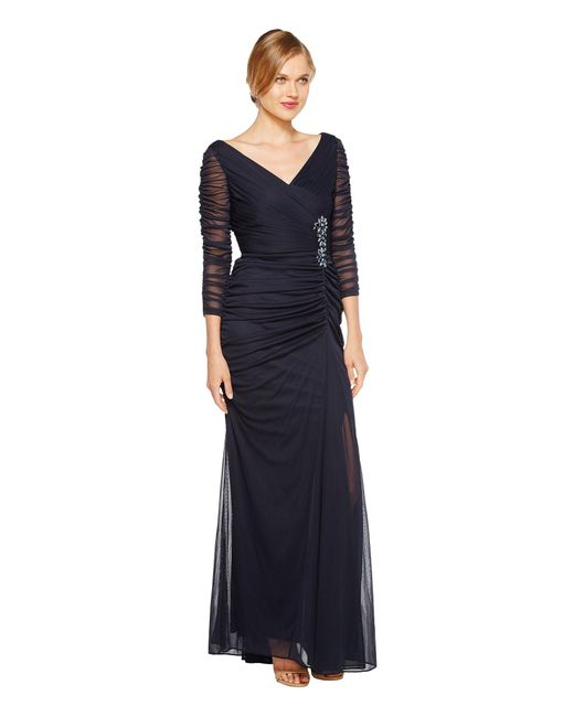 Lyst - Adrianna Papell Drape Covered Gown in Blue