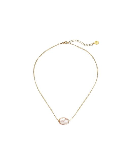 Majorica - Metallic 14mm Baroque 2 Row Chain Necklace (gold/white) Necklace - Lyst
