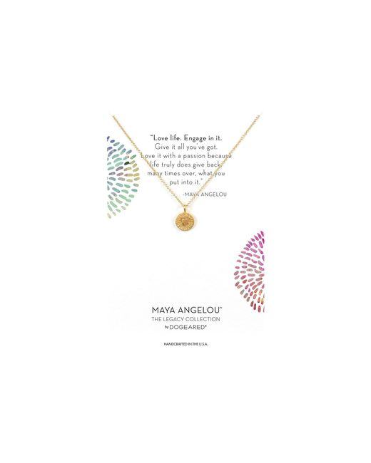 Dogeared - Metallic Maya Angelou: Love Life, Engage In It Necklace (sterling Silver) Necklace - Lyst