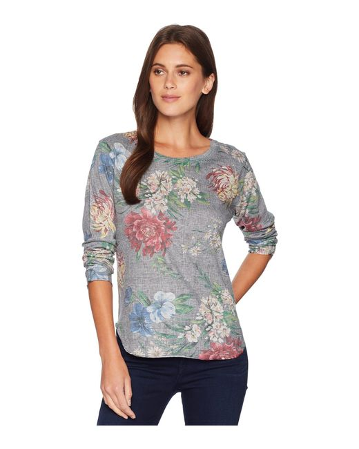 Nally & Millie - Gray Long Sleeve Floral Houndstooth Top (multi) Women's Clothing - Lyst