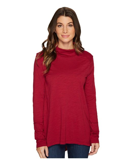 Mod-o-doc | Red Slub Jersey Long Sleeve Turtleneck Tee With Back Slit | Lyst