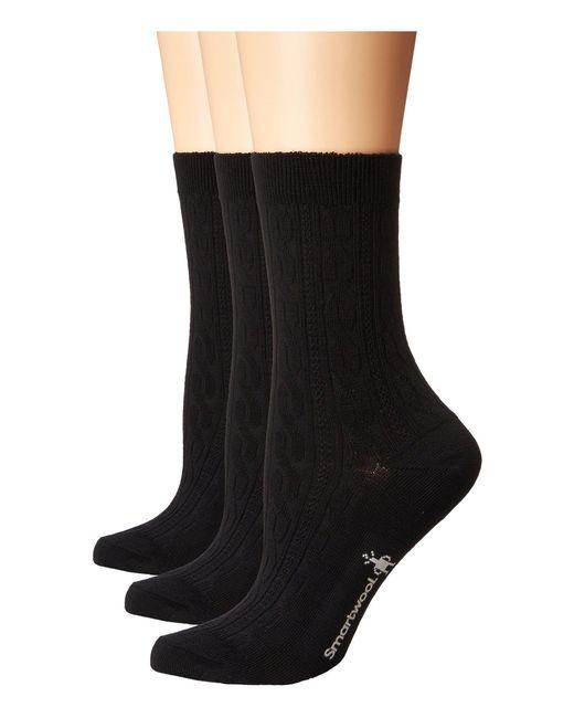 b412ea8342daa Smartwool - Black Cable 3-pack (medium Gray) Women's Crew Cut Socks Shoes
