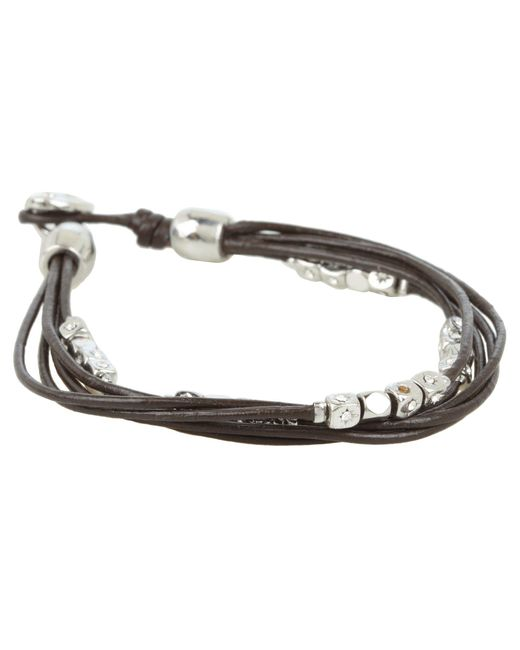 Fossil | Metallic Dainty Strands Leather Wrap Bracelet | Lyst