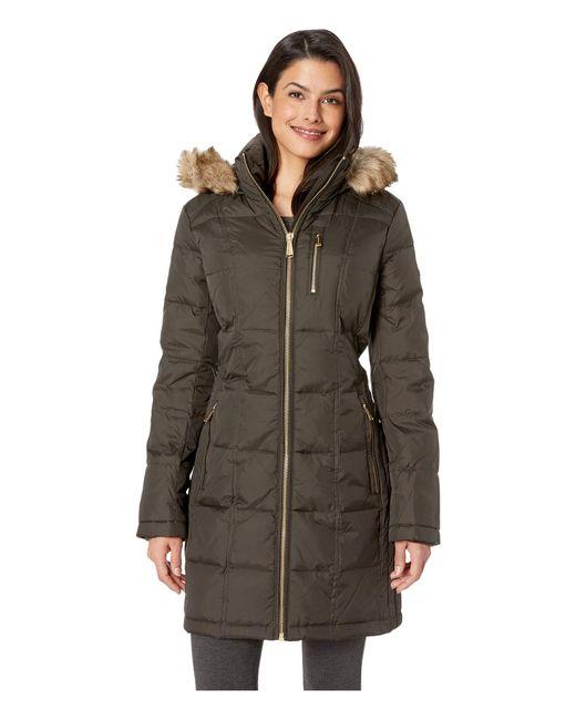 MICHAEL Michael Kors - Green Zip Front Down With Zip Pocket At Top And Faux Fur Trim Hood M821883gz (black) Women's Coat - Lyst