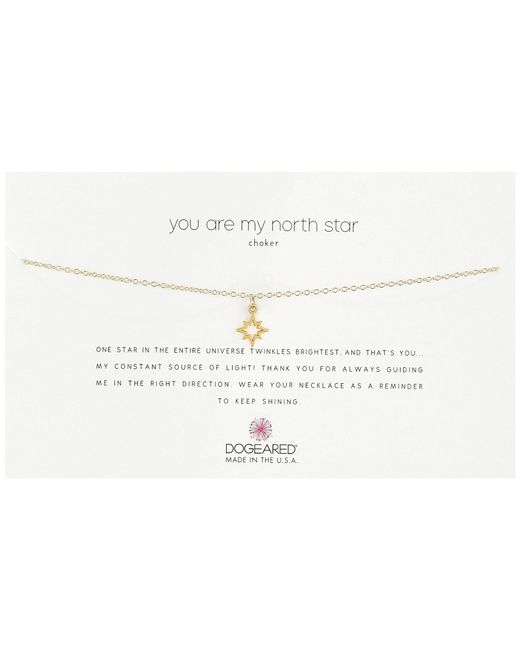 Dogeared | Metallic You Are My North Star Choker Necklace, Open North Star Charm | Lyst