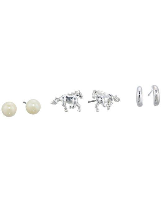 Lauren by Ralph Lauren - Metallic Horse Trio Earrings Set (silver) Earring - Lyst