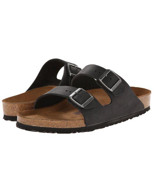 Birkenstock - Arizona Soft Footbed - Leather (unisex) (black Amalfi Leather) Sandals - Lyst