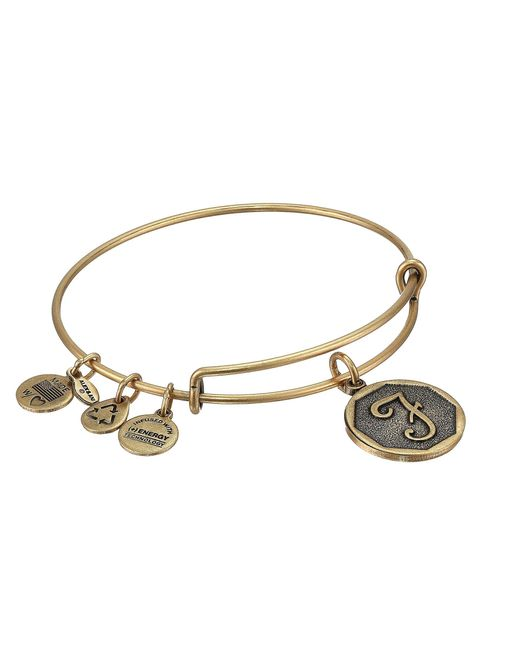 ALEX AND ANI - Metallic Initial F Charm Bangle (rafaelian Gold Finish) Bracelet - Lyst