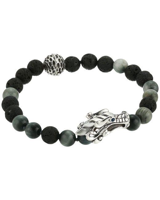 John Hardy - Metallic Legends Naga 8mm Bead Bracelet With Eagle Eye And Black Volcanic - Lyst