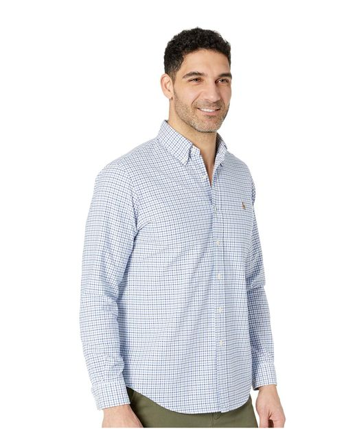 e674f3d7dc0 ... promo code for polo ralph lauren standard fit oxford sport shirt blue  white gingham mens 66e4d
