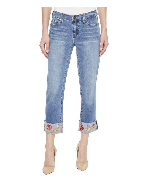 Liverpool Jeans Company - Blue Josie Embroidered Wide Cuff Capris In Vintage Super Comfort Stretch Denim In Bridgeport (bridgeport) Women's Jeans - Lyst