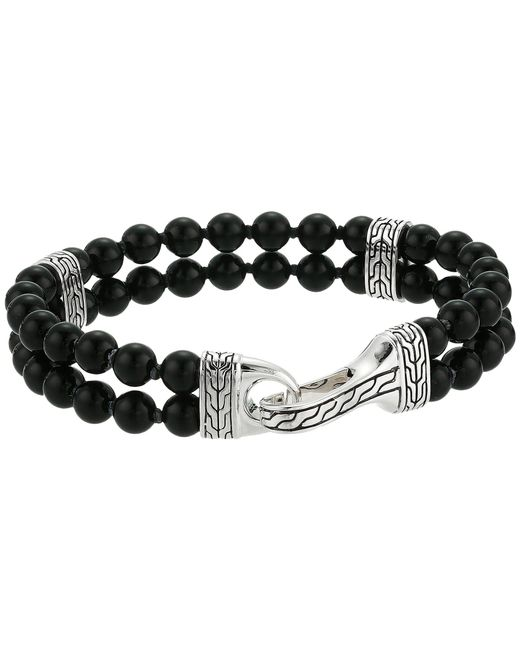 John Hardy - Metallic Classic Chain Double Row Bead Bracelet With Black Onyx (silver) Bracelet for Men - Lyst