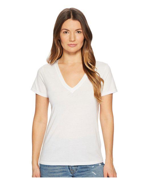 Vince - White Essential V-neck Top (black) Women's T Shirt - Lyst