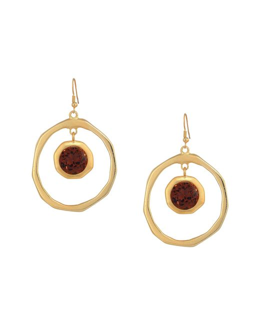 Kenneth Jay Lane - Metallic Large Satin Gold Hoop/topaz Center Drop Fishhook Earrings (satin Gold/topaz) Earring - Lyst