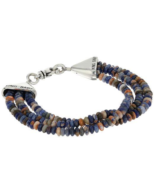 King Baby Studio   Multicolor Triple Strand Orange Sodalite Bead Bracelet W/ Cone Clasp   Lyst