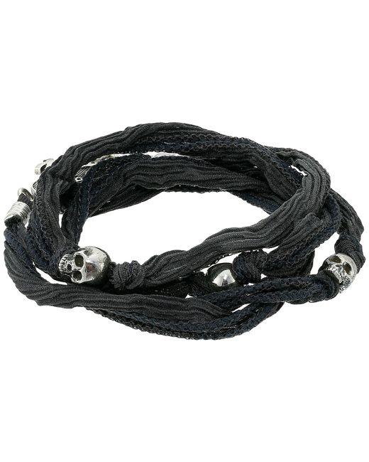 King Baby Studio   Gray Multi Wrap Charcoal Silk Bracelet With Skulls   Lyst