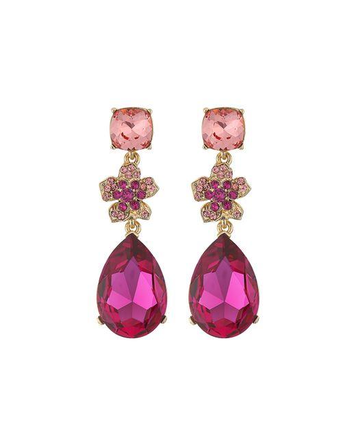 Oscar de la Renta | Blue Clustered Stone Clipon Drop Earrings | Lyst
