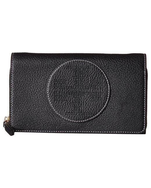 Tory Burch | Black Perforated Logo Flat Wallet Crossbody | Lyst