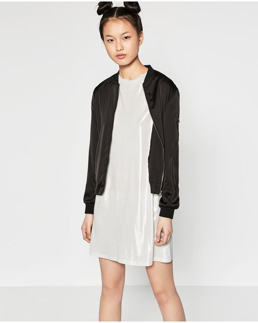 Zara embroidered flowing bomber jacket in black lyst
