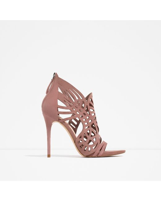 Zara | Pink Openwork Leather Sandals | Lyst