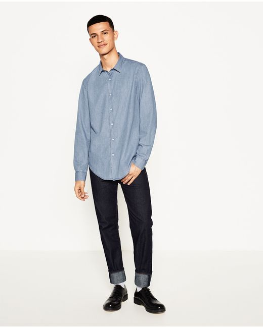 Zara | Blue Chambray Shirt for Men | Lyst