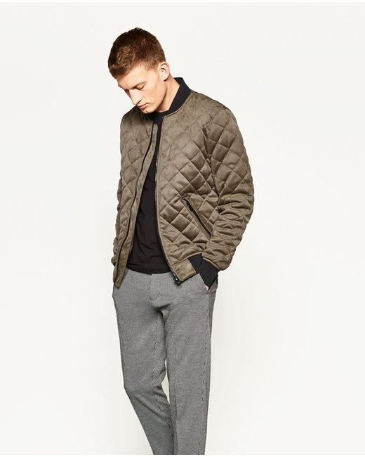 zara quilted bomber jacket in multicolor for men lyst. Black Bedroom Furniture Sets. Home Design Ideas