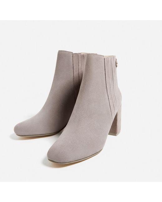 zara elastic split suede ankle boots in multicolour lyst