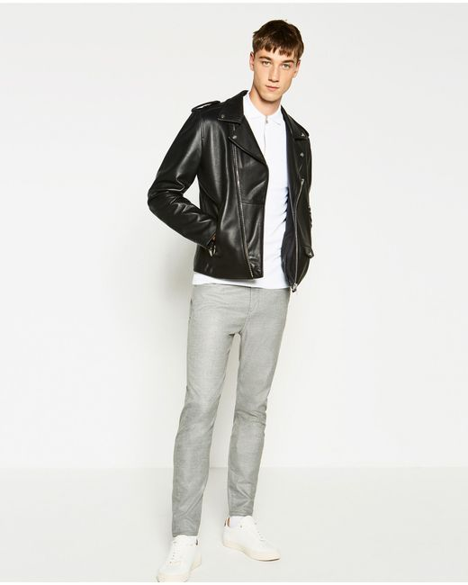 Zara | Gray Textured Weave Trousers for Men | Lyst