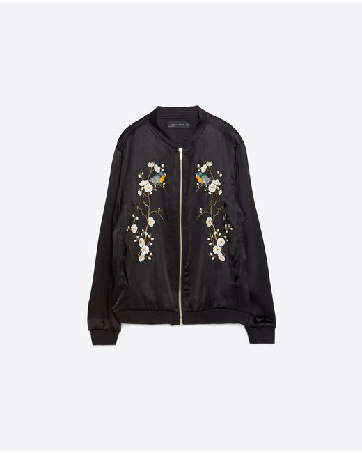 Zara floral embroidered bomber jacket in multicolor lyst