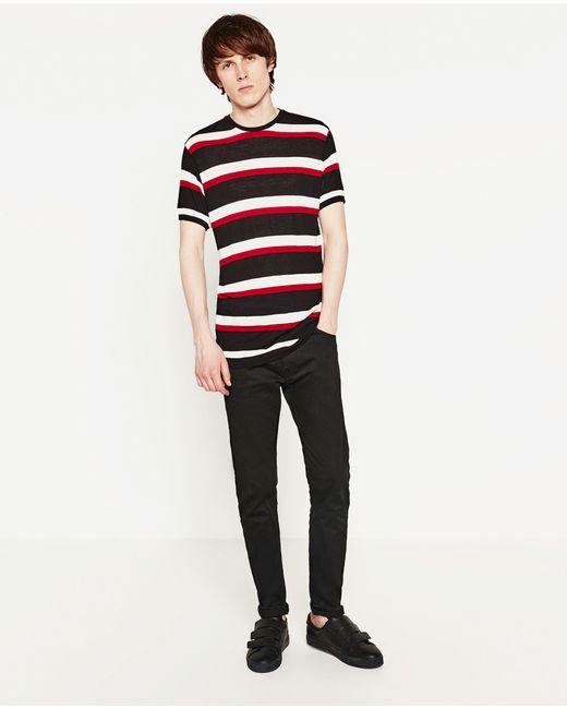 Zara   Red Striped Sweater for Men   Lyst