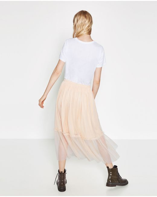 zara tulle midi skirt in multicolour lyst
