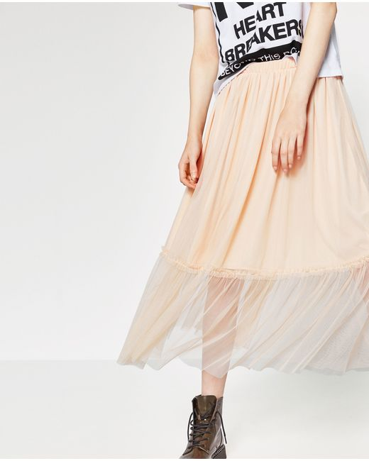 zara tulle midi skirt in multicolor lyst