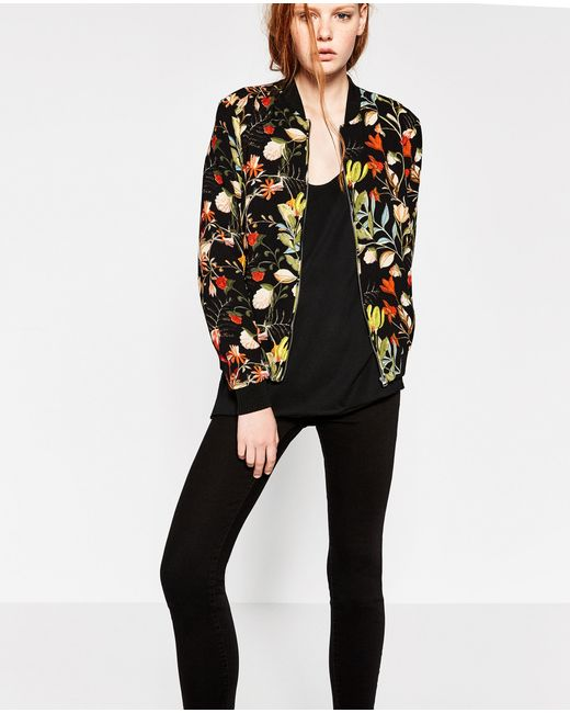 zara floral print bomber jacket in blue lyst. Black Bedroom Furniture Sets. Home Design Ideas