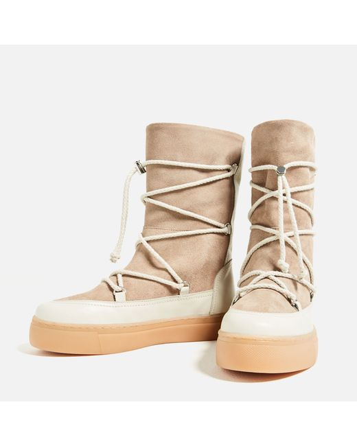 zara split suede lace up boots in multicolor lyst