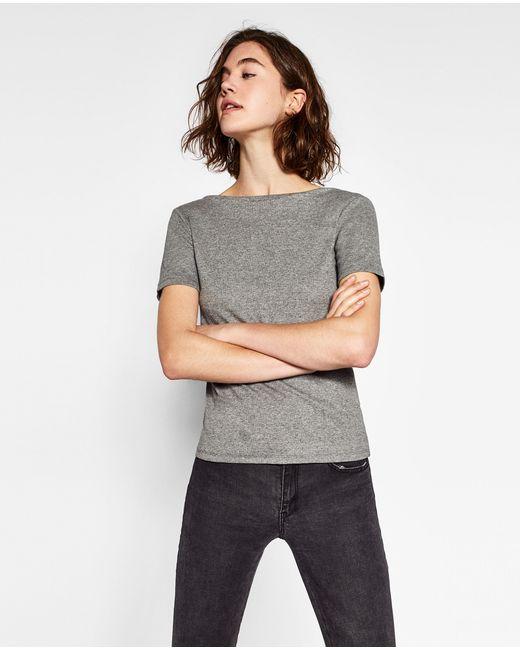Zara | Gray Boatneck Top | Lyst
