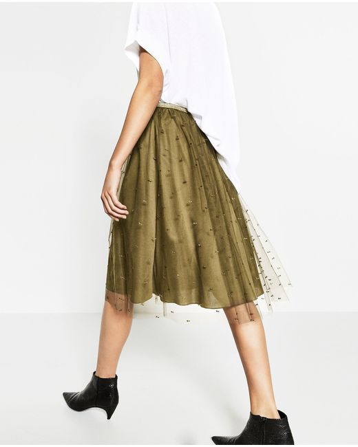 zara tulle skirt in green lyst