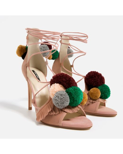 Zara | Multicolor Leather High Heel Sandals With Pompoms | Lyst