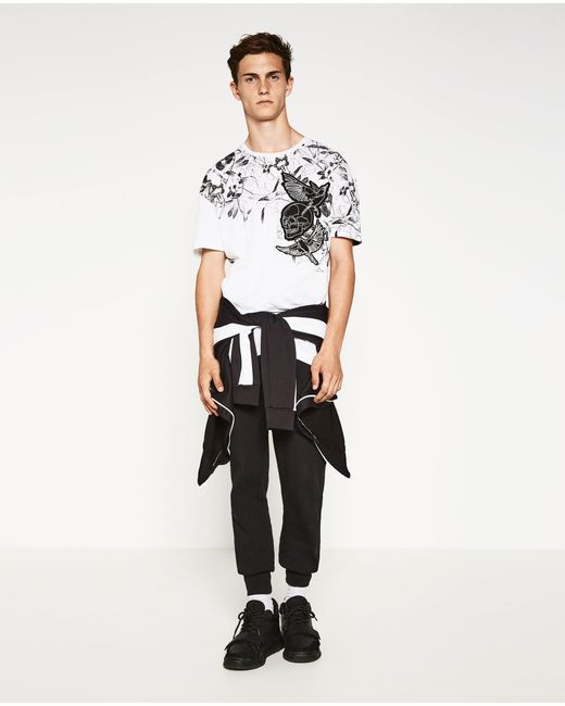 Zara | Black Striped T-shirt With Patches for Men | Lyst